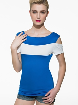 Ericdress Slim Color Block Ripped T-Shirt