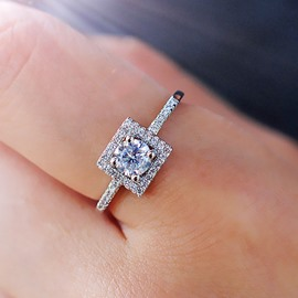 Ericdress Vogue Square Diamond Ring