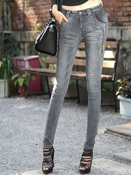 Ericdress Solid Color Skinny Jeans