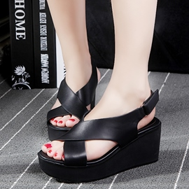 Ericdress Peep Toe Velcro Slingback Wedge Sandals