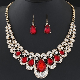 Ericdress Shining Rhinestones Water Drop Gemstone Jewelry Set