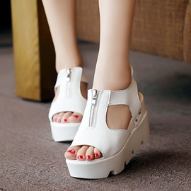 Ericdress Peep Toe Front Zipper Platform Wedge Sandals