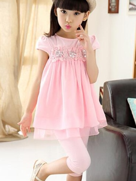 Ericdress Lace Pleated Patchwork Girls Outfits