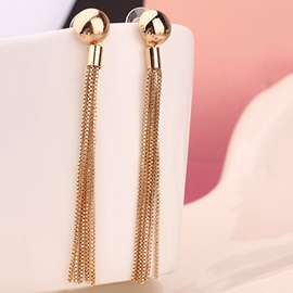 Ericdress Long Golden Tassels Earrings