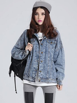 Ericdress Loose Button Denim Outerwear