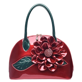 Ericdress Ladylike Floral Patent Leather Handbag