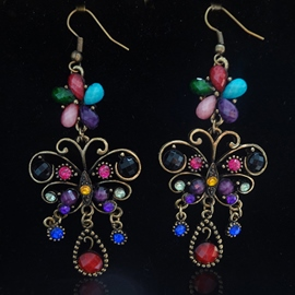 Ericdress Colored Gemstones Butterfly Earrings