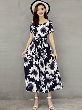 Ericdress Summer Flower Print Expansion Maxi Dress
