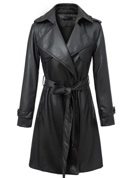 Ericdress Solid Color Lace-Up Slim Trench Coat