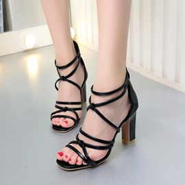 Ericdress Cross Strap BacK zip Chunky Sandals