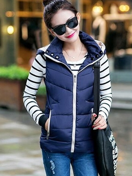 Ericdress Casual Zipper Hooded Jacket