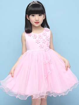 Ericdress Solid Color Floral Girls Dress