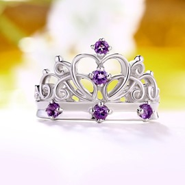 Ericdress Crown Design Purple Crystal Ring