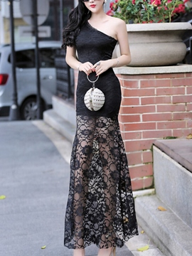 Ericdress Solid Color Oblique Shoulder Lace Patchwork Maxi Dress