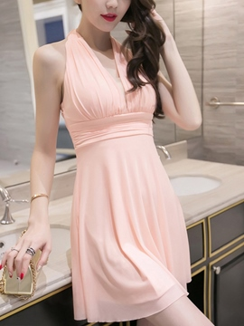 Ericdress Solid Color Pleated Halter Casual Dress