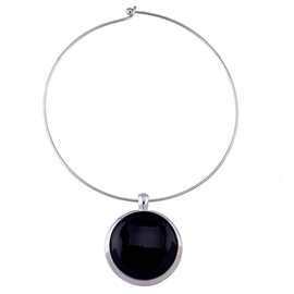 Ericdress Black Resin Pendant Round Necklace