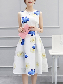 Ericdress Sleeveness A-Line Skater Casual Dress