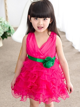 Ericdress Sleeveless V-Neck Girls Dress