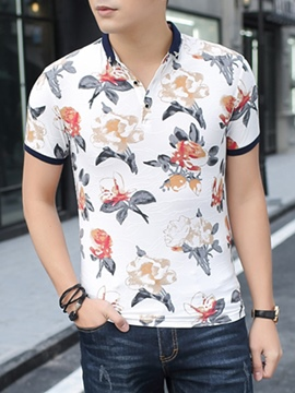 Ericdress Flower Slim Polo Men's T-Shirt