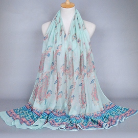 Ericdress Ethnic Floral Print Voile Scarf