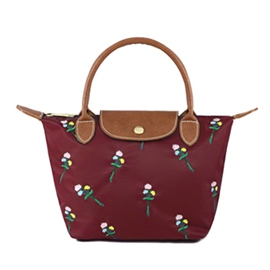 Ericdress Foldable Floral Embroidery Nylon Tote Bag