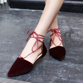 Ericdress Suede Point Toe Lace up Flats