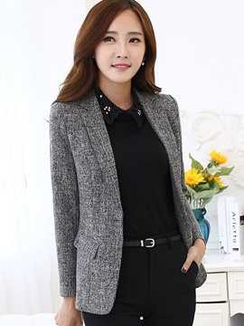 Ericdress Slim Pocket Solid Color Blazer