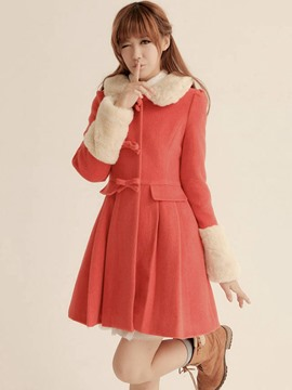 Ericdress Orange Red High Waist Pleated Coat