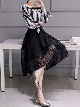 Ericdress Swallowtail Lace Skirt Suit