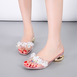 Ericdress Transparent Crystal Open-Toe Mules Shoes