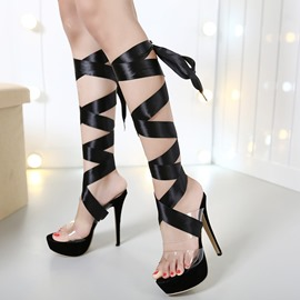 Ericdress Black PU Transparent Lace-Up Platform Stiletto Sandals