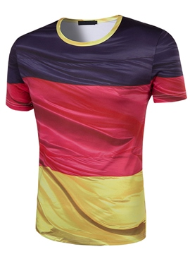Ericdress Color Block Crew Neck Short Sleeve Men's T-Shirt