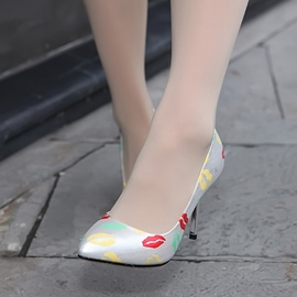 Ericdress Lip Printed Point Toe Pumps