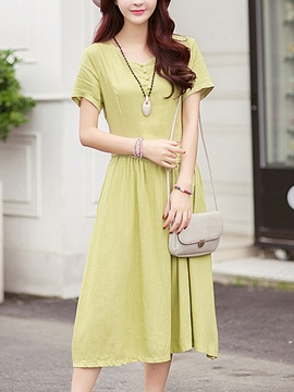 Ericdress Ethic Soild Color Casual Dress