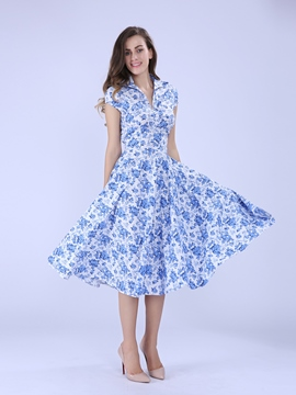 Ericdress Blue Floral Polo Collar Casual Dress