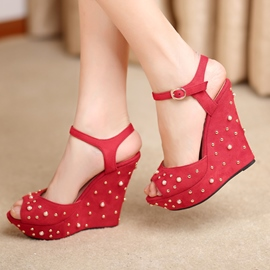 Ericdress Ankle Strap Peep Toe Rivet Wedge Sandals