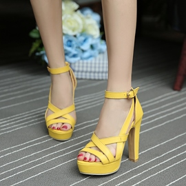 Ericdress Bright Open Toe Platform Chunky Sandals