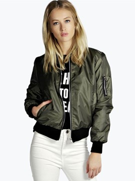 Ericdress Zipper Crop Crew Neck Jacket