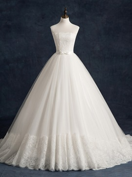 Ericdress Strapless Ball Gown Lace Wedding Dress