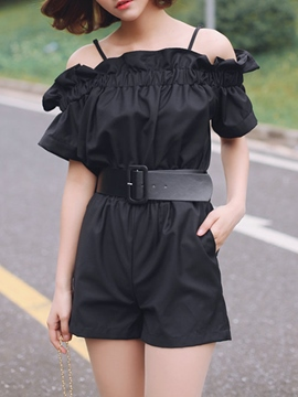 Ericdress Slash Neck Frill Rompers