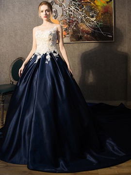 Ericdress Scoop Ball Gown Appliques Court Train Quinceanera Dress