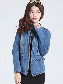 Ericdress Slim Zipper Denim Outerwear