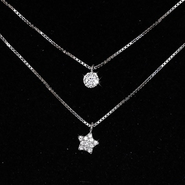 Ericdress Double Layers Star Zircon Necklace