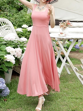Ericdress Solid Color Expansion Open Back Maxi Dress