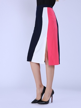 Ericdress Color Block Column Skirt