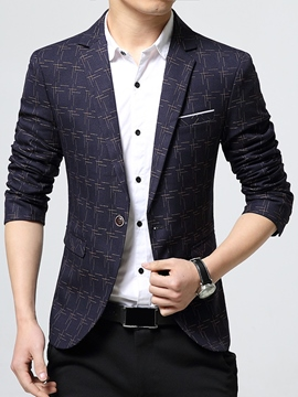 Ericdress Plaid Classic Vogue Slim Men's Blazer