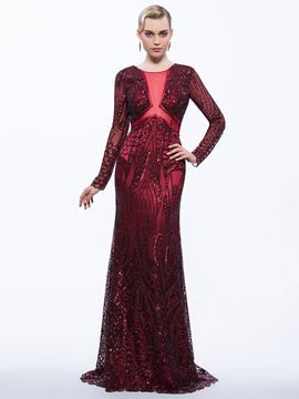 Ericdress Sheath Scoop Long Sleeves Sequins Brush Train Evening Dress