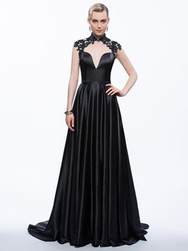 Ericdress A-Line High Neck Cap Sleeves Appliques Hollow Court Train Evening Dress