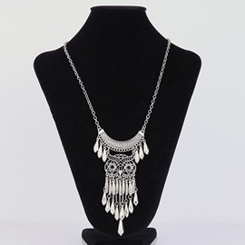Ericdress Owl Shaped Hollow Pendant Necklace