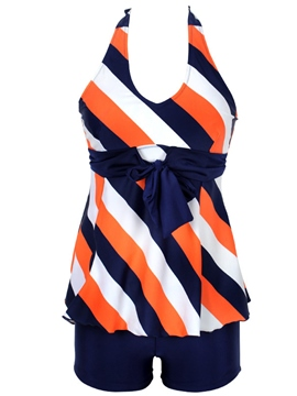 Ericdress Color Block Stripe Halt Swimwear